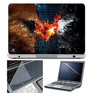 FineArts Laptop Skin Batman Three Parts With Screen Guard and Key Protector - Size 15.6 inch