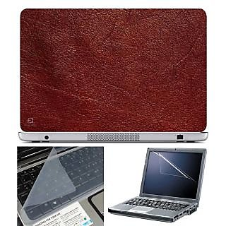 FineArts Laptop Skin Red Texture With Screen Guard and Key Protector - Size 15.6 inch