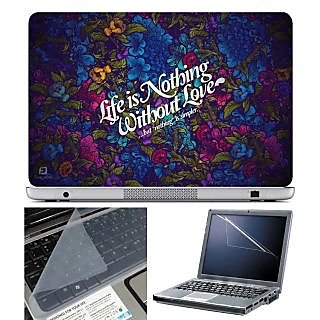 FineArts Laptop Skin Life is Nothing With Screen Guard and Key Protector - Size 15.6 inch
