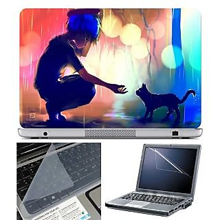 FineArts Laptop Skin Anime Girl with Cat With Screen Guard and Key Protector - Size 15.6 inch