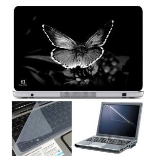 FineArts Laptop Skin BW Butterfly With Screen Guard and Key Protector - Size 15.6 inch