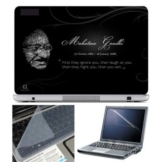 FineArts Laptop Skin Mahatma Gandhi Quotes With Screen Guard and Key Protector - Size 15.6 inch