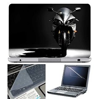 FineArts Laptop Skin Black Bike With Screen Guard and Key Protector - Size 15.6 inch