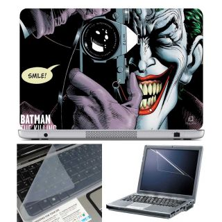 FineArts Laptop Skin Batma The Killing Smile With Screen Guard and Key Protector - Size 15.6 inch