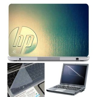 FineArts Laptop Skin HP Green Metal With Screen Guard and Key Protector - Size 15.6 inch
