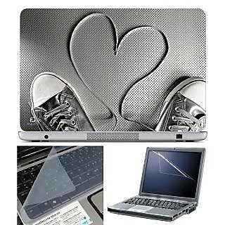 FineArts Laptop Skin Shoes Heart With Screen Guard and Key Protector - Size 15.6 inch
