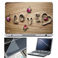 FineArts Laptop Skin Love Rose With Screen Guard And Ke