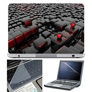 FineArts Laptop Skin 3D Cubes With Screen Guard and Key Protector - Size 15.6 inch