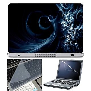 FineArts Laptop Skin Blue Spiral With Screen Guard and Key Protector - Size 15.6 inch
