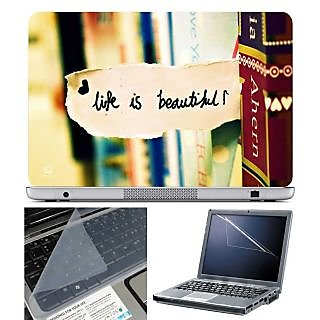 FineArts Laptop Skin Life is Beautiful With Screen Guard and Key Protector - Size 15.6 inch