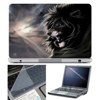 FineArts Laptop Skin Lion Drawing With Screen Guard and Key Protector - Size 15.6 inch