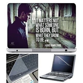 FineArts Laptop Skin Harry Porter Quotes With Screen Guard and Key Protector - Size 15.6 inch
