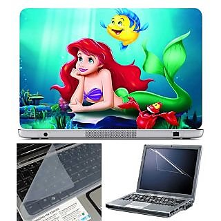 FineArts Laptop Skin Little Mermaid With Screen Guard and Key Protector - Size 15.6 inch
