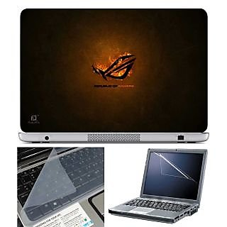 FineArts Laptop Skin Repubic of Gamers Fire With Screen Guard and Key Protector - Size 15.6 inch