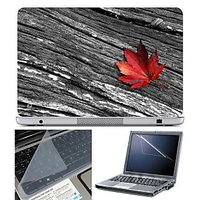 FineArts Laptop Skin - Red Leave On Wood With Screen Gu