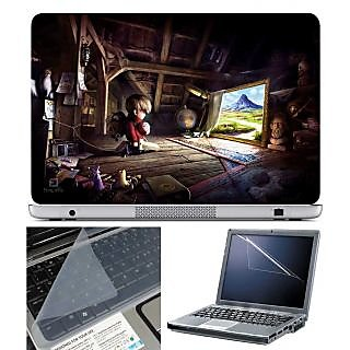 FineArts Laptop Skin Kid in House With Screen Guard and Key Protector - Size 15.6 inch