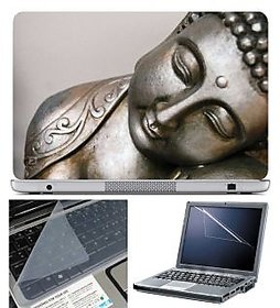 FineArts Laptop Skin Buddha Metal With Screen Guard and Key Protector - Size 15.6 inch