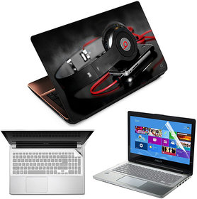 FineArts Laptop Skin Headphone With Mobile With Screen Guard and Key Protector - Size 15.6 inch