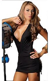 Hot Backless deep V neck Mini Dress party wear with matching gstring