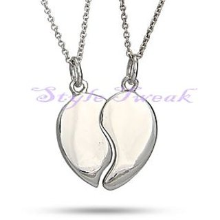 Broken Heart Pendant Necklace - Silver