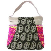 Printed Hobo Bag - Multi Colour Hobo - Rabari Mirror Wo