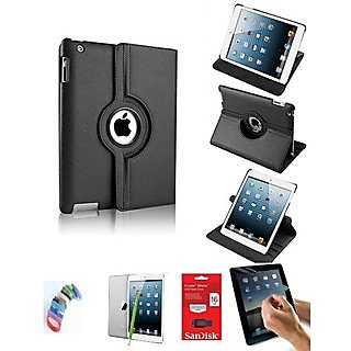 PU Leather Full 360 Degree Rotating Flip Book Case Cover Stand for ipad 4 ipad 3 ipad 2 (Black) with Matte Screen Guard, Stylus, Wrist band + 16GB SANDISK EXTERNAL PENDRIVE