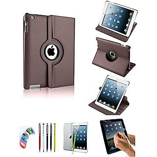 PU Leather Full 360 Degree Rotating Flip Book Case Cover Stand for ipad 4 ipad 3 ipad 2 (Brown) with Matte Screen Guard, Stylus and Wrist band