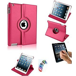 PU Leather Full 360 Degree Rotating Flip Book Case Cover Stand for ipad 4 ipad 3 ipad 2  (Hot Pink) with Matte Screen Guard and Wrist band