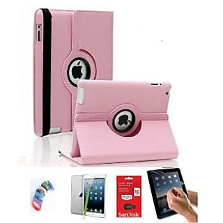 PU Leather Full 360 Degree Rotating Flip Book Case Cover Stand for ipad 4 ipad 3 ipad 2 (Light Pink) with Matte Screen Guard, Stylus, Wrist band + 16GB SANDISK EXTERNAL PENDRIVE