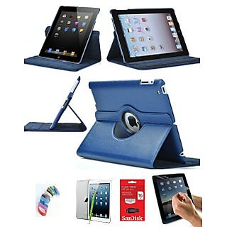 PU Leather Full 360 Degree Rotating Flip Book Case Cover Stand for ipad 4 ipad 3 ipad 2 (Navy Blue) with Matte Screen Guard, Stylus, Wrist band + 16GB SANDISK EXTERNAL PENDRIVE