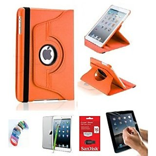 PU Leather Full 360 Degree Rotating Flip Book Case Cover Stand for ipad 4 ipad 3 ipad 2 (Orange) with Matte Screen Guard, Stylus, Wrist band + 16GB SANDISK EXTERNAL PENDRIVE