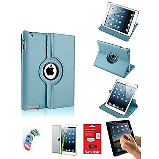 PU Leather Full 360 Degree Rotating Flip Book Case Cover Stand for ipad 4 ipad 3 ipad 2 (Sky Blue) with Matte Screen Guard, Stylus, Wrist band + 16GB SANDISK EXTERNAL PENDRIVE