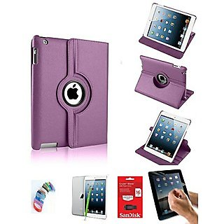 PU Leather Full 360 Degree Rotating Flip Book Case Cover Stand for ipad 4 ipad 3 ipad 2 (Violet ) with Matte Screen Guard, Stylus, Wrist band + 16GB SANDISK EXTERNAL PENDRIVE