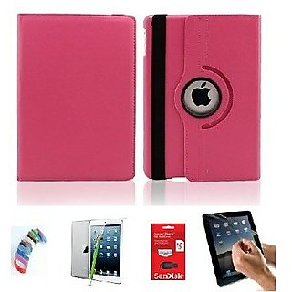 PU Leather iPad Mini 2 Retina 360 Degree Rotating Leather Case Cover Stand (Hot Pink) with Matte Screen Guard, Stylus, Wrist band + 16GB SANDISK EXTERNAL PENDRIVE