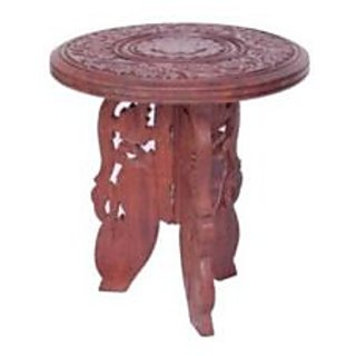 Onlineshoppee Antique Wooden Foldable Table With Handicrafts Beautiful Design 6