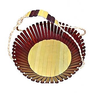 Onlineshoppee Wooden Fruit Basket With Handle