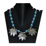 Antique Blue Stone Chinar Leaf Pendant Necklace