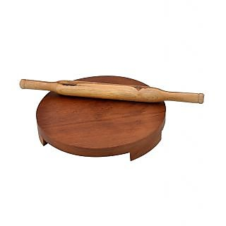 Onlineshoppee Wooden Polpat Roti Roller Combo Large - Sagwan