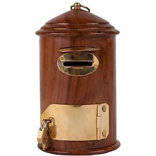 Onlineshoppee Beautiful & Fancy Wooden Letterbox Shaped Money Coin Bank
