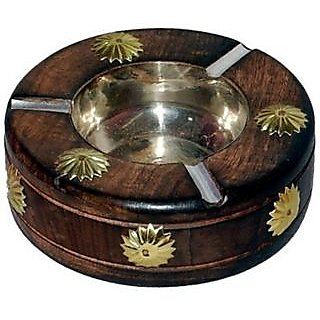 OnlineShoppee Wooden Premium Quality Antique Ashtray Brown