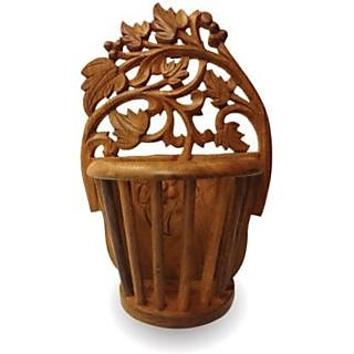 Onlineshoppee Beautiful Wooden Antique Hand Carved Wall Hanging Flower Wooden 10