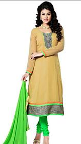 Riti Riwaz Faux Georget Anarkali Semi-Stitched Suit Yellow And Green