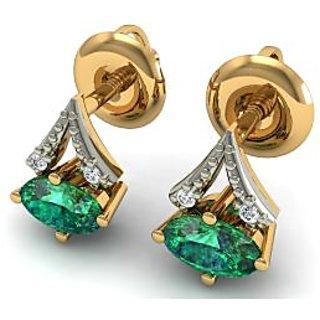 18k Yellow Gold Emerald 030ct Si Ij Diamond Stud Earrings Wedding