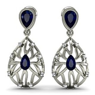White Gold 0.74 Ct Iolite Natural Diamond Solid 18K Earrings New