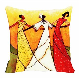 3 dancers Digitally Printed Cushion Cover (Pack Of 2)
