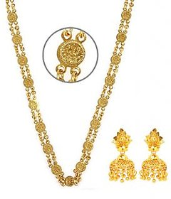 Goldnera Golden Gold Plated Combo Of Chain And Gold Plated Earrings For Women