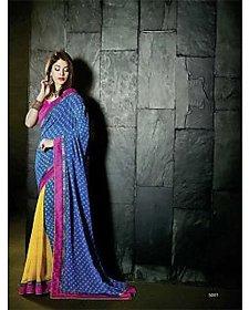 Anu Designer Black & Red Brocade Printed Saree With Blouse