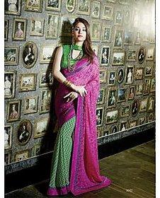Anu Designer Brown & Khaki Brocade Self Design Saree With Blouse