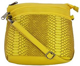 Multi Zip Sling Bag - Faux Leather Bag - Yellow - Trend