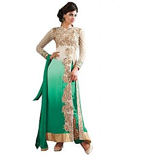 Green Faux Georgette Party Wear Womens Dress Material (Unstitched)